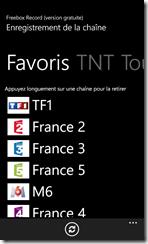 Ecran des chaines : Favoris, TNT, Toutes